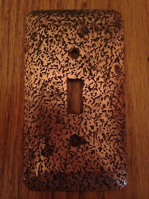 Vintage Hammered Copper Switch Plate Cover Single Toggle Arts & Crafts Mission