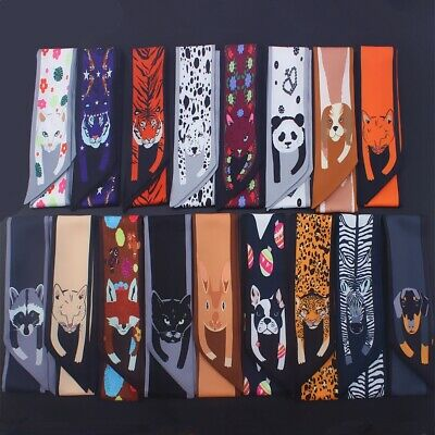 Womens Twilly Animals Cheetah Scarf Silk Bag Ribbon Tie Handle Band Head Scarves