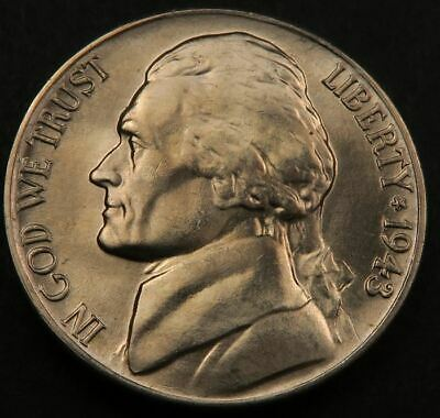 1943 S SILVER JEFFERSON WAR NICKEL UNCIRCULATED LUSTER FREE SHIPPING **L@@K!