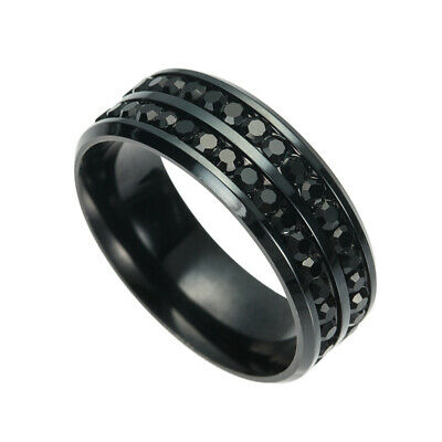 New Fashion 316L Stainless Steel Titanium Wedding Engagement Band Ring Size 7