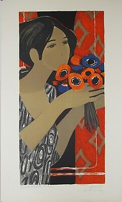 Yves Ganne- Lithografie Originell Signierte- Junges Frau Am Bouquet