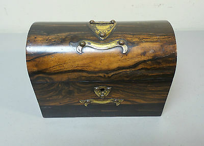 "19th C. ROSEWOOD ""ALMS"" COLLECTION BOX, BRASS TRIM & ORIGINAL KEY, C.1860-80"