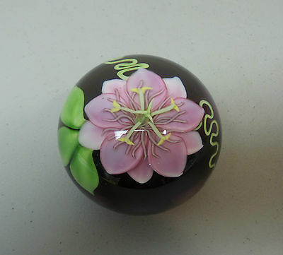 Orient & Flume Limited Edition 6/250 Art Glass Paperweight , Large Pink Orchid