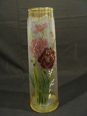 STUNNING ART NOUVEAU Art GLASS TALL ACID ETCHED & ENAMELED VASE, c. 1900