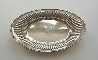 "Vintage Meriden Sterling Silver 10.75"" Oval Bread Tray, #601, 215 Grams"