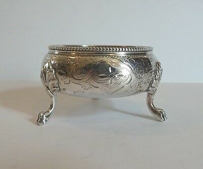 ANTIQUE 19th c. ENGLISH STERLING SILVER FOOTED SALT CELLAR, c. 1861, 80 grams