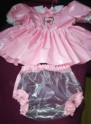 Adult Baby Kleid Windelhose Gummihose Sissy PVC LACKPlastik HALLO KITTY XS- S
