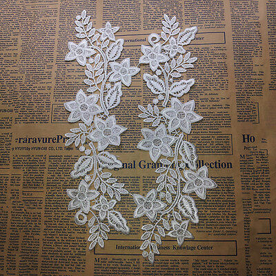 White Embroidered Lace Blossom Flower Patch Iron/Sew on Applique Soluble best