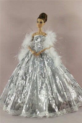 Silver Fashion Royalty Princess sequin  Dress/Gown+Fur Shawl For 11 in. Doll