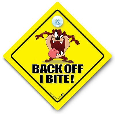BACK OFF I BITE Car Sign, Suction Cup Car Sign, Tailgater Car Sign, Tailgating