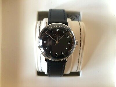 Junghans Max Bill Manual Wind Leather Strap Men's Watch Black 027/3702.00