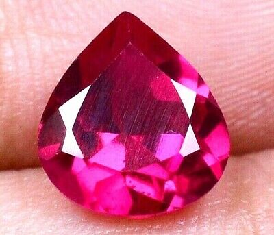 VVS 3.35 Ct Burma's Natural Red Ruby Pear Shape Certified Loose Gemstone F5372