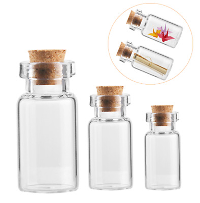 100Pcs 5ml/20ml Small Stopper Tiny Glass Bottle Jars With Cork Vial Containers