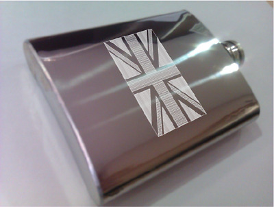 Engraved steel hip flask with flags (EEUU, Canada, UK...)