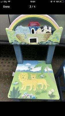 Child's Wooden Noah's Ark Chairs x2