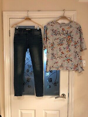 Girls Clothes Age 10 Years (9-10) Next Jeans And Top Set (114)