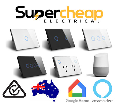 Google Light Switch Smart Home WIFI LED  Power Point Socket Clipsal Saturn look