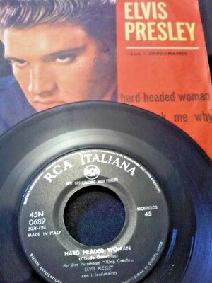 """Elvis Presley Hard Headed Woman TOP RAREST UNIQUE P/S ITALY 7"""" KING CREOLE OST"""