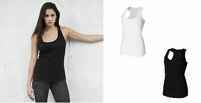 Ladies Cotton Slub Vest Racer Back Sleeveless Top White Black SK283