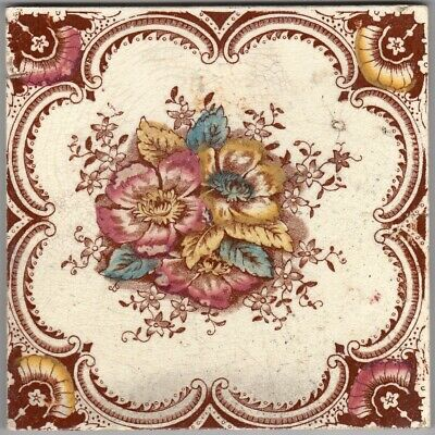 T & R Boote - c1903 -  Red & Amber Floral Design - Antique Edwardian Tile