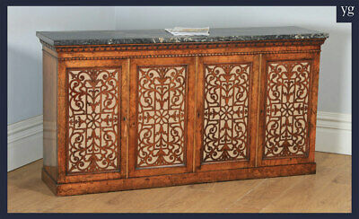 Antique Victorian Burr Walnut & Marble Sideboard Bookcase Cabinet Cupboard c1850