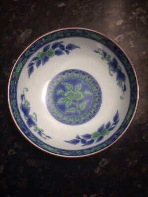 Chinese Export Vintage Antique Blue Green White Rice Bowl Dish Display Decor