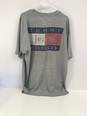 vtg TOMMY JEANS hilfiger tee t-shirt XXL 2XL gray spell out 90's Huge Flag