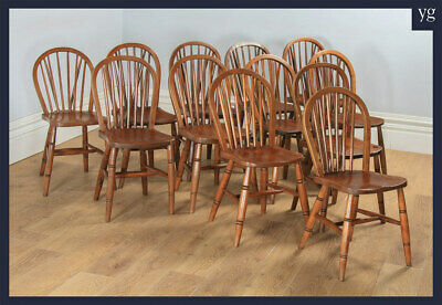 Antique 12 Twelve Victorian Windsor Stick & Hoop Back Kitchen Dining Chairs