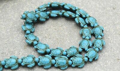 x20 Perles tortues howlite turquoise 15 mm-Turquoise howlite turtle beads 15mm