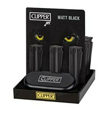 CLIPPER large BLACK Metal JET FLAME nuovo ANTIVENTO