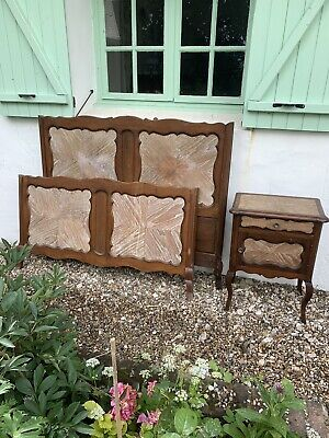 Beautiful Vintage French Oak Inlaid Double Bed And Bedside Table Hotel Boudoir