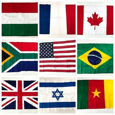 3'x5' FT World Country National Polyester USA Canada UK Japan Spain Brazil Flags