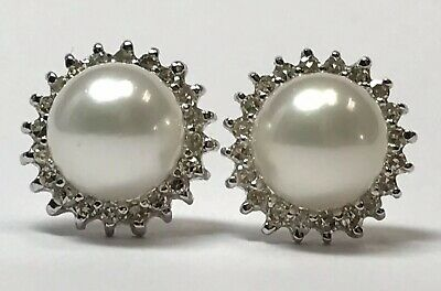 df77b22d1 Vintage 14K White Gold Natural Akoya Pearl & Diamond Stud Earrings 585