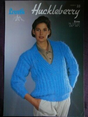 """Loweth Knitting Pattern 33 - Ladies Mohair V-Neck Sweater 30""""-40""""- Not a copy"""