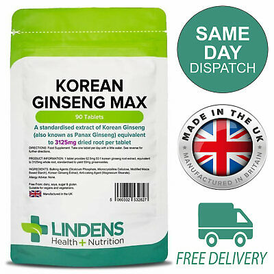 Korean Ginseng Max 3125mg Powerful Energy Boost 90 Tablets Lindens
