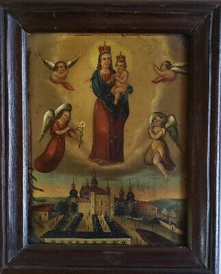 Antique Spanish Colonial Retablo Oil Painting on Tin Mary and Jesus