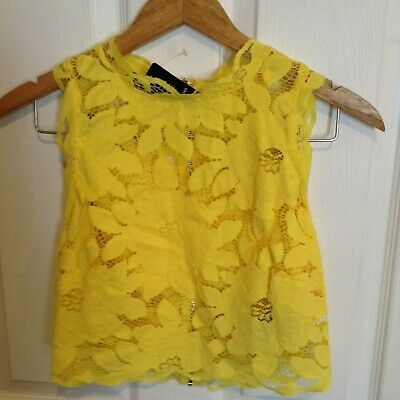 Bebe Shelly Lace Floral Mock Neck Top Yellow Lined Zipper Back Size 8 Nwt