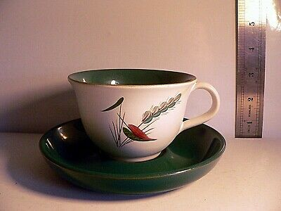 Vintage Denby Wheatsheaf Stoneware Green & White Tea Coffee Cup and Saucer
