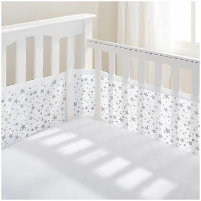 Breathable Baby MESH CRIB LINER 4 SIDED - TWINKLE STAR GREY Baby Child BN