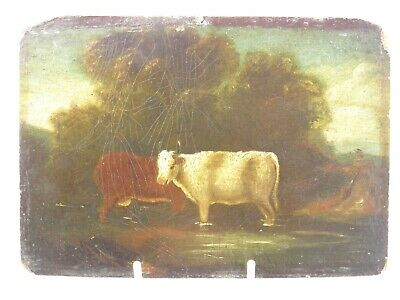 Antique late 18th century Georgian English oil painting cattle cows in a river