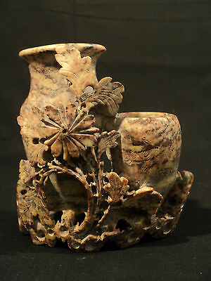 19th CENTURY CHINESE CARVED SOAPSTONE VASE with DOUBLE URNS