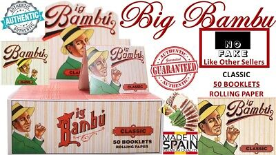 🔥100% AUTHENTIC BIG BAMBU Classic 50 Pack Book Cigarette Rolling Papers SPAIN🔥
