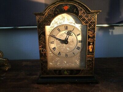 Mantel Clock 1950s Chinoiserie Case English Mercer Works