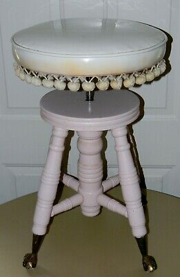 Antique Merriam Painted Piano Stool Vinyl Seat Claw Glass Ball Feet Shabby Chic