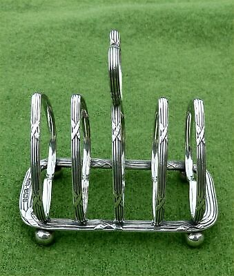 ATTRACTIVE ENGLISH SILVER 4 SLICE TOAST RACK - SHEFFIELD 1935 - 3.74 troy oz
