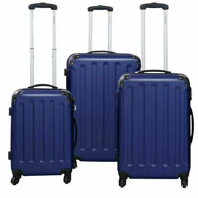 New GLOBALWAY 3 Pcs Luggage Travel Set Bag ABS Trolley Suitcase w/TSA Lock Blue
