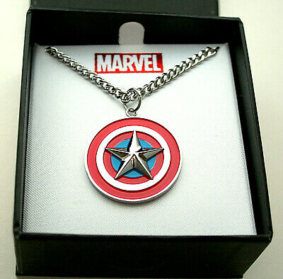 Marvel Comics Captain America Shield Necklace Pendant New Box Men's Unisex