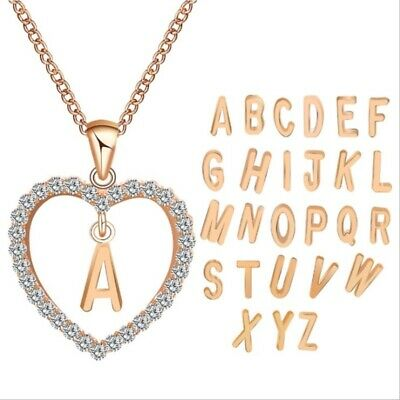 New Fashion Unisex Crystal Initial Alphabet Letter A-Z Pendant Chain Necklace