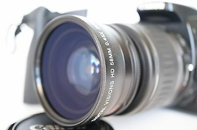 Macro Wide Angle Lens for Canon Eos Digital Rebel & T6i sl1 XTi w/18-55 IS II 58