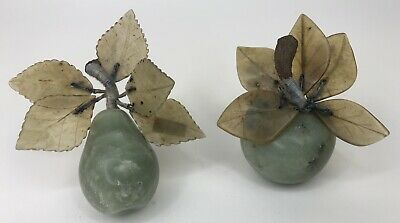 Vintage Set 2 Chinese Celadon Green Jade Carved Pear and Apple with Stone Leaves